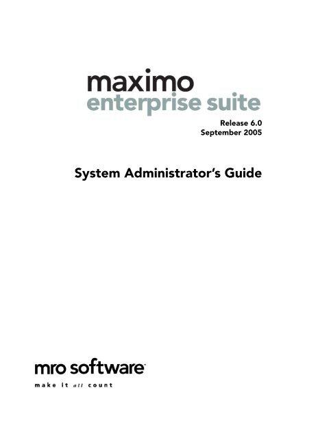 Ibm maximo system administrator's ibm maximo: system.