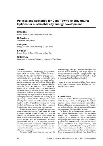 Policies and scenarios for Cape Town's energy future: Options ... - erc