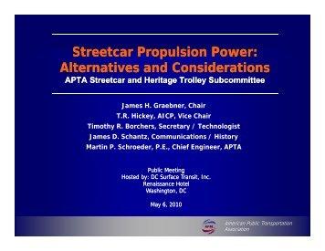 Streetcar Propulsion Power: Alternatives and Considerations