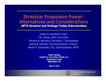 Streetcar Propulsion Power: Alternatives and Considerations