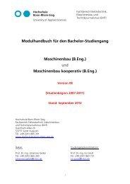 Modulhandbuch für den Bachelor-Studiengang Maschinenbau (B.Eng
