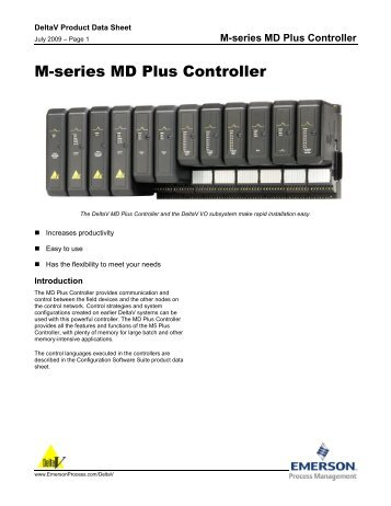 M-series MD Plus Controller - Emerson Process Management