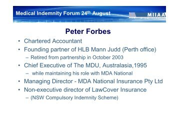 Peter Forbes - Medical Indemnity Industry Association of Australia