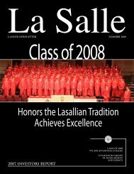 Honors the Lasallian Tradition Achieves Excellence
