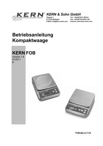 Betriebsanleitung Kompaktwaage KERN FOB - Waagenshop.biz