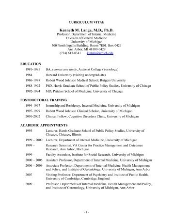 CV of Kenneth M. Langa, M.D., Ph.D. - Michigan Center on The ...