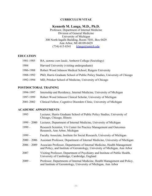 CV of Kenneth M  Langa, M D , Ph D  - Michigan Center on The