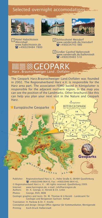 Selected overnight accomodations - Geopark Harz