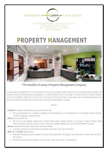 PROPERTY MANAGEMENT INFO