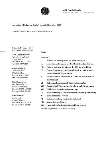 MdB Carola Stauche Mitglied des Deutschen Bundestages Inhalt ...