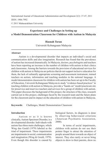 Experience and Challenges in Setting up a Model - Mahasarakham ...