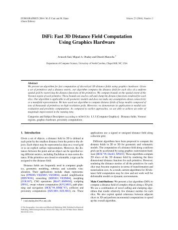 DiFi: Fast 3D Distance Field Computation Using Graphics ... - CiteSeer