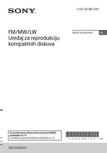 Sony CDX-G3200UV - CDX-G3200UV Consignes d'utilisation Croate