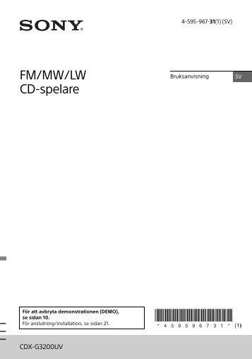 Sony CDX-G3200UV - CDX-G3200UV Consignes d'utilisation Suédois