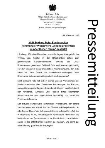 Eckhard Pols MdB Eckhard Pols: Bundesweiter kommunaler ...