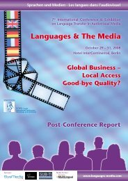 Languages & The Media Post Conference Report 2008