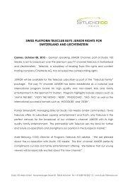 swiss platform teleclub buys junior rights for ... - studio100MEDIA