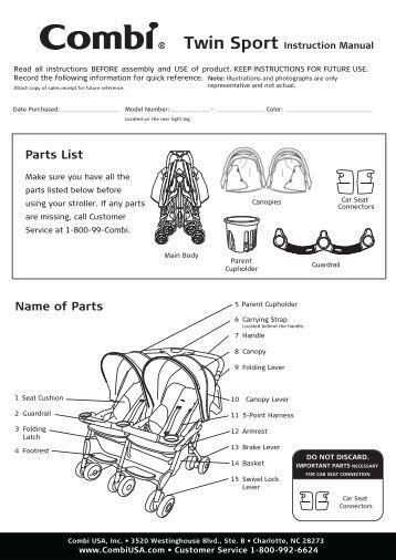 City Savvy Stroller Instruction Manual - Combi USA