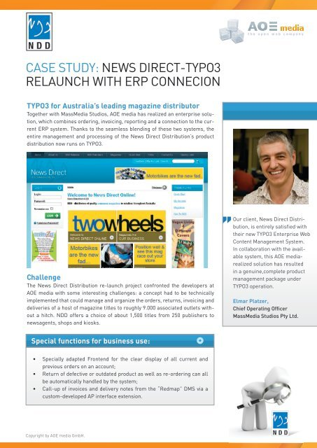 Case study: News direCt-tyPO3 relauNCh with erP     - AOE media
