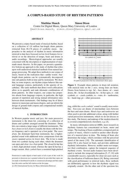 A CORPUS-BASED STUDY OF RHYTHM PATTERNS - ISMIR 2012