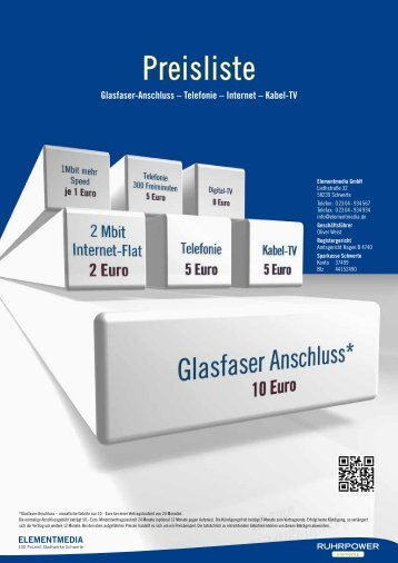 Glasfaser-Anschluss – Telefonie – Internet - ELEMENTMEDIA