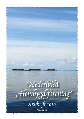 Nederluleå Hembygdsförening Årsskrift 2010