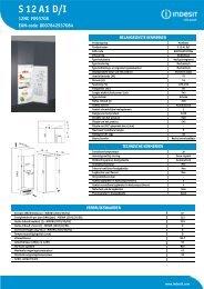 KitchenAid S 12 A1 D/I - Refrigerator - S 12 A1 D/I - Refrigerator NL (F093708) Product data sheet