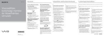 Sony SVE14A1M6E - SVE14A1M6E Guide de dépannage Hongrois