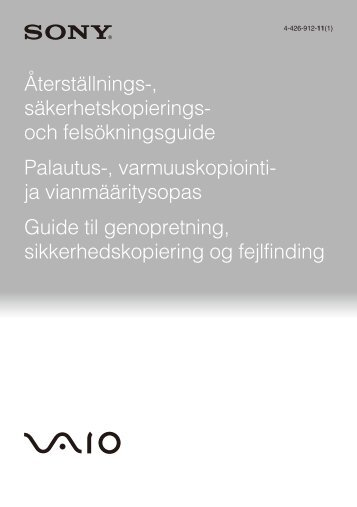 Sony SVE14A1M6E - SVE14A1M6E Guide de dépannage Suédois