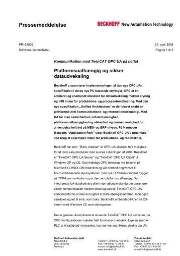 Pressemeddelelse - download - Beckhoff