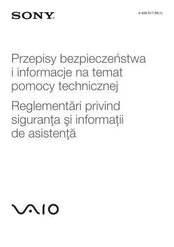 Sony SVE1511B1R - SVE1511B1R Documents de garantie Polonais