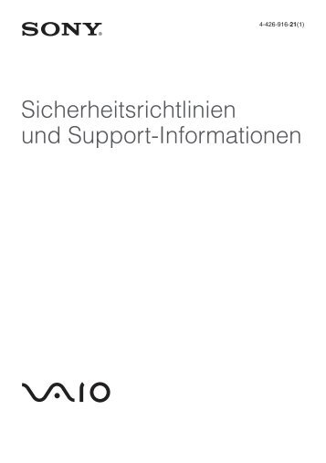 Sony SVE1511B1R - SVE1511B1R Documents de garantie Allemand