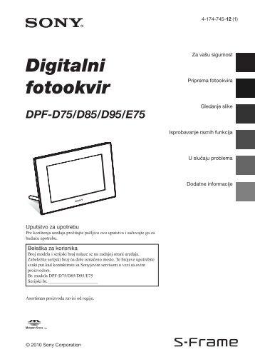 Sony DPF-D85 - DPF-D85 Istruzioni per l'uso Serbo