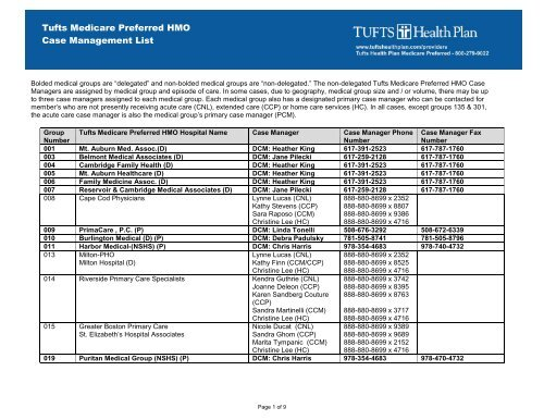 Thpmp Hmo Case Management List Tufts Health Plan