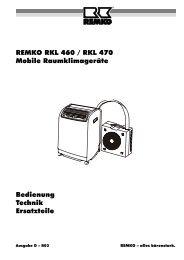 Bedienung Technik Ersatzteile REMKO RKL 460 / RKL 470 Mobile ...