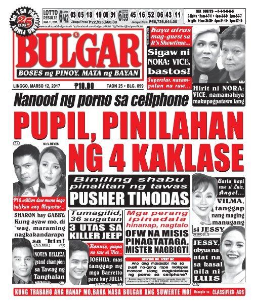 March 12, 2017 BULGAR: BOSES NG PINOY, MATA NG BAYAN
