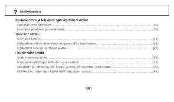 Sony KDL-32NX500 - KDL-32NX500 Consignes d'utilisation Finlandais