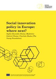 Social innovation policy in Europe where next?