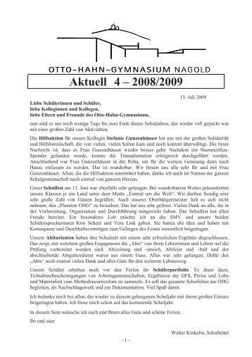 Aktuell 4 – 2008/2009 - Otto-Hahn-Gymnasium