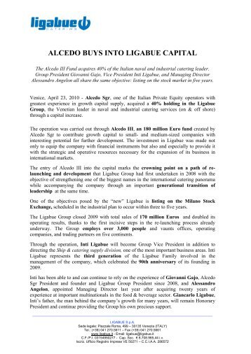 ALCEDO BUYS INTO LIGABUE CAPITAL - Ligabue Group