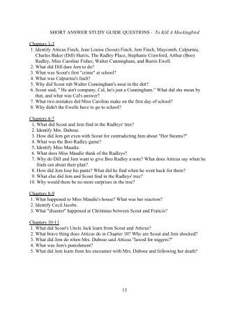 study guide for to kill a