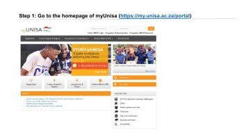 Step 1 Go to the homepage of myUnisa (https://my.unisa.ac.za/portal)