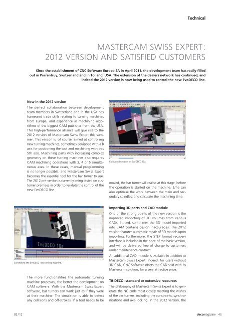 Mastercam Swiss Expert : 2012 version and satisfied customers