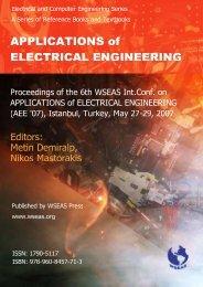 APPLICATIONS of ELECTRICAL ENGINEERING - WSEAS