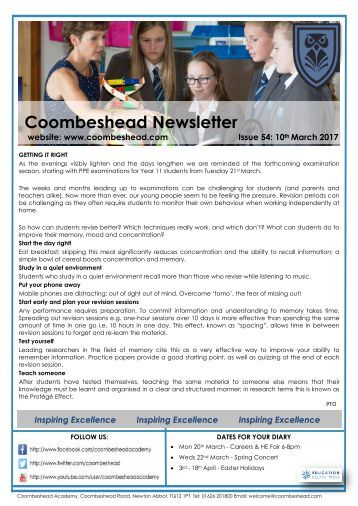 Coombeshead Academy Newsletter - Issue 54