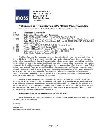 117 515 relay wiring kit headlights moss motors notification of a voluntary recall of brake master moss motors