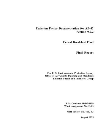 Background Report, AP-42, Vol. I, Section 9.9.2 Cereal Breakfast Food