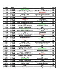 Worksheet in Fall 2012 Under 12 schedule - City of Rock Hill