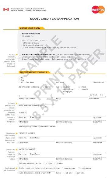 Model Credit Card Application - MasterCard