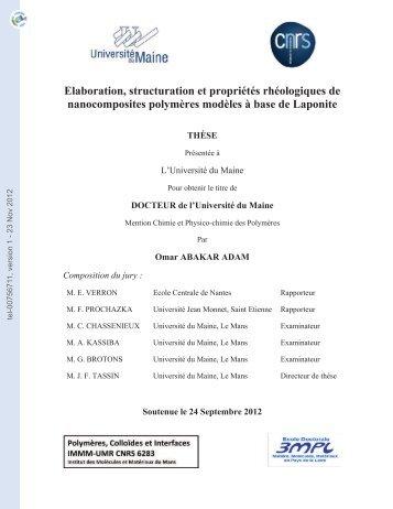 Elaboration, structuration et propriétés rhéologiques de ...
